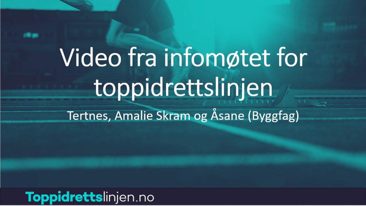 Bilde av video fra infomøtet for toppidrettslinjen